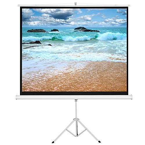 "Cloud Mountain 84"" 4:3 HD Foldable Tripod Stand Portable Projector Screen Projection Pull Up Office Projector Adjustable Multi Aspect Ratio, 1.1 Gain Max White  DESIGN FOR YOU: Heavy duty, withstands daily usage for home or business  DIMENSION: Diagonal Size: 84"" (50"" x 67""); Viewing Angle: 120 Degree; 4:3 Aspect Ratio  GREAT EXPERIENCE: MaxWhite 1.1 gain screen material with standard black backing to eliminate light penetration.  EASILY USE: Auto-Locking mechanism controls height adju..."