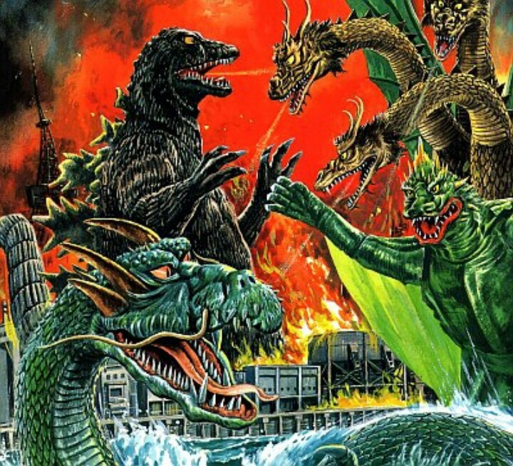 Destroy All Monsters -this would make a slamming black light poster ala Spencers Gifts