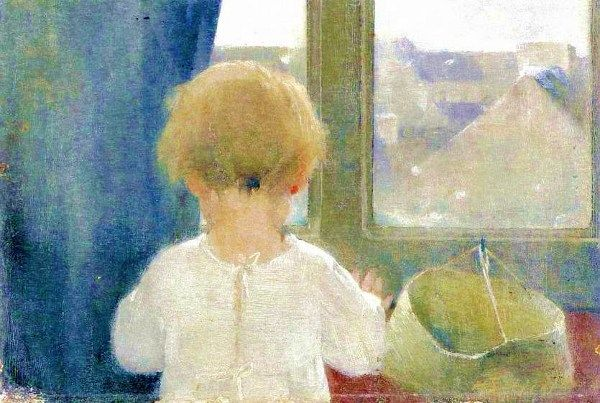 """Helene Schjerfbeck (1862 – 1946, Finnish) """"the neck of a little girl"""" watercolor"""