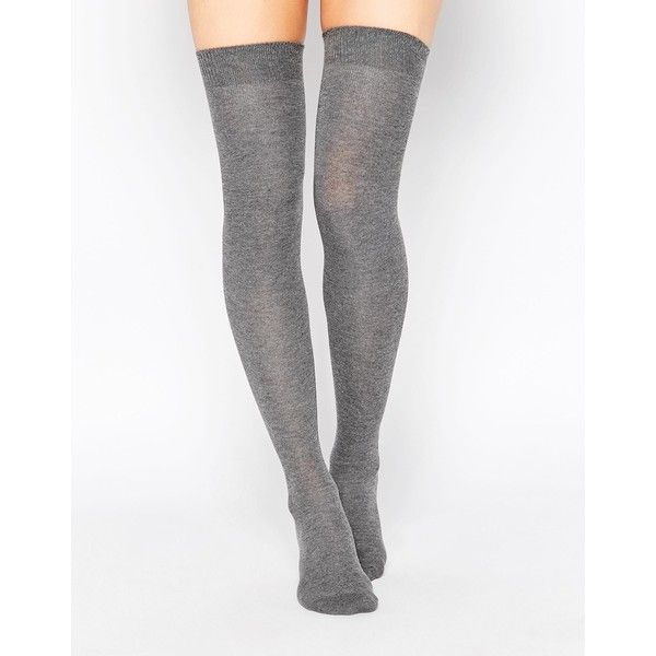 ASOS Thigh High Socks ($8.54) ❤ liked on Polyvore featuring intimates, hosiery, socks, accessories, grey, tights, body parts, asos, thigh high socks and grey thigh high socks