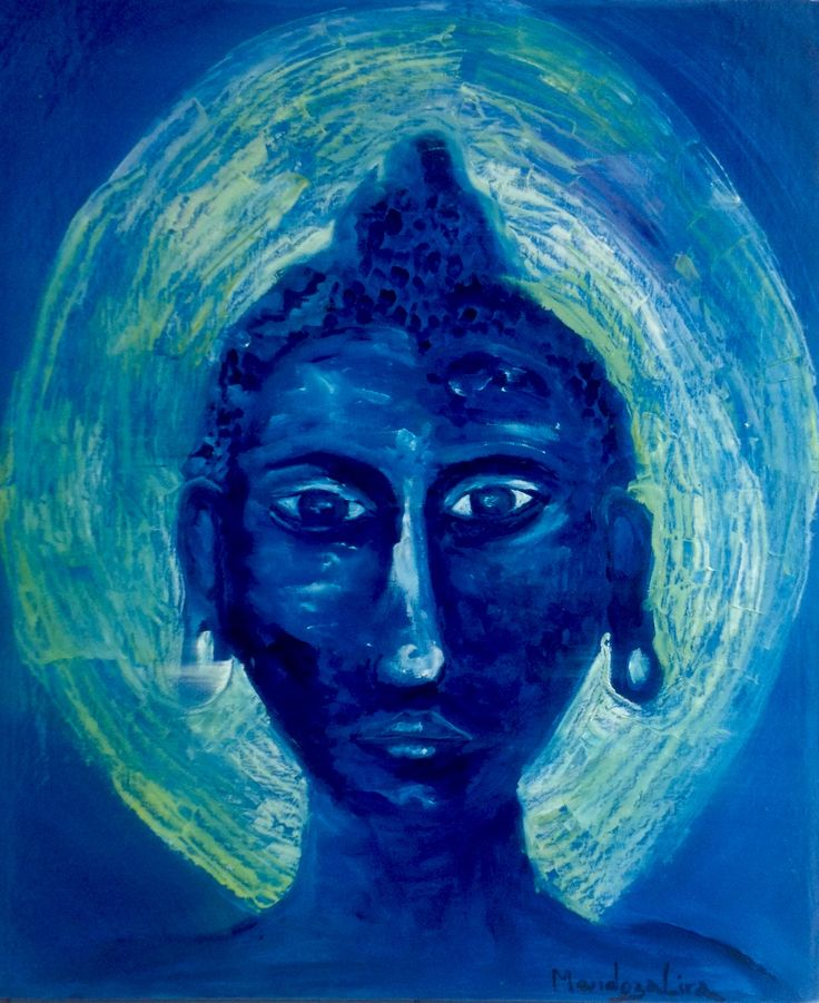 Younger Buddha Face  Oil over canvas  Private collection