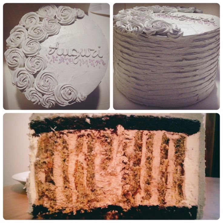 London Fog vertical layer cake: Chocolate cake, earl grey biscuit and chocolate lavender buttercream