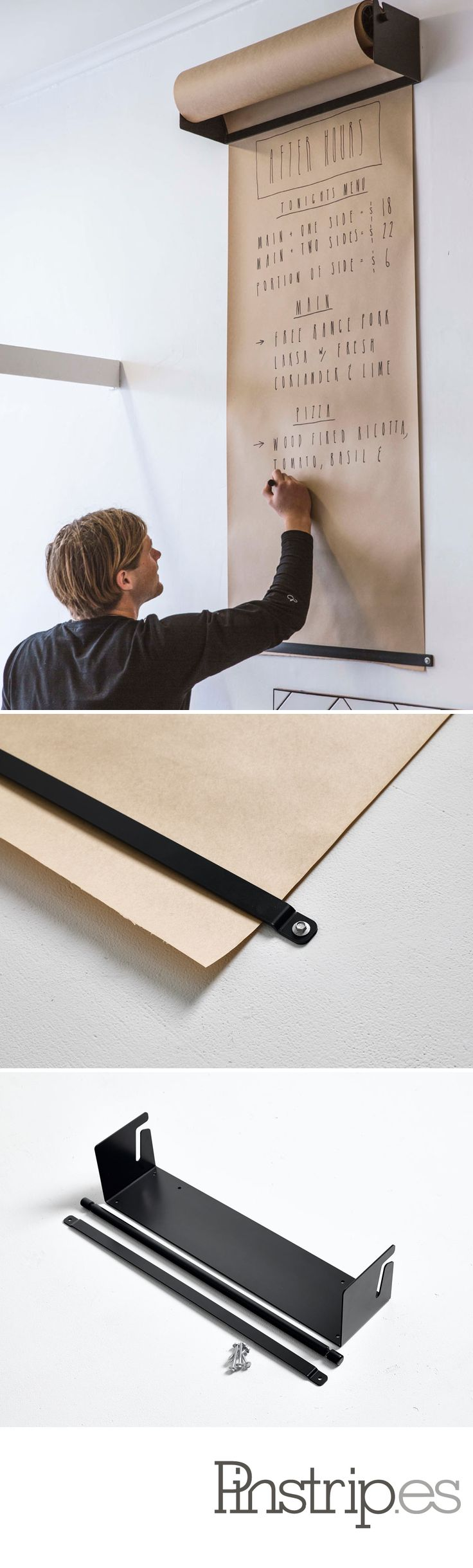 Awesome.  WALL-MOUNTED KRAFT PAPER ROLL DISPENSER - cleaner than chalkboard, if less *green* via @designmilk
