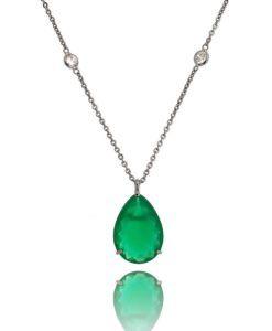 comprar colar longo com pedra esmeralda banho de rodio negro e colar tiffany semi joias modernas