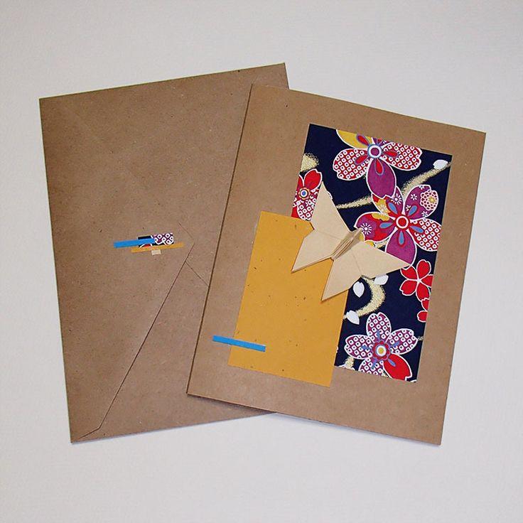 Cartes de voeux papillon en origami sur collage : Cartes par orijuju-shop