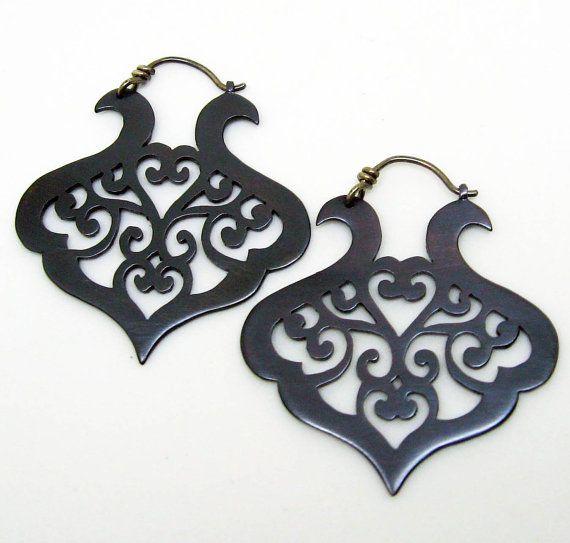 Black copper earrings with scrolling arabesque by Gracebourne