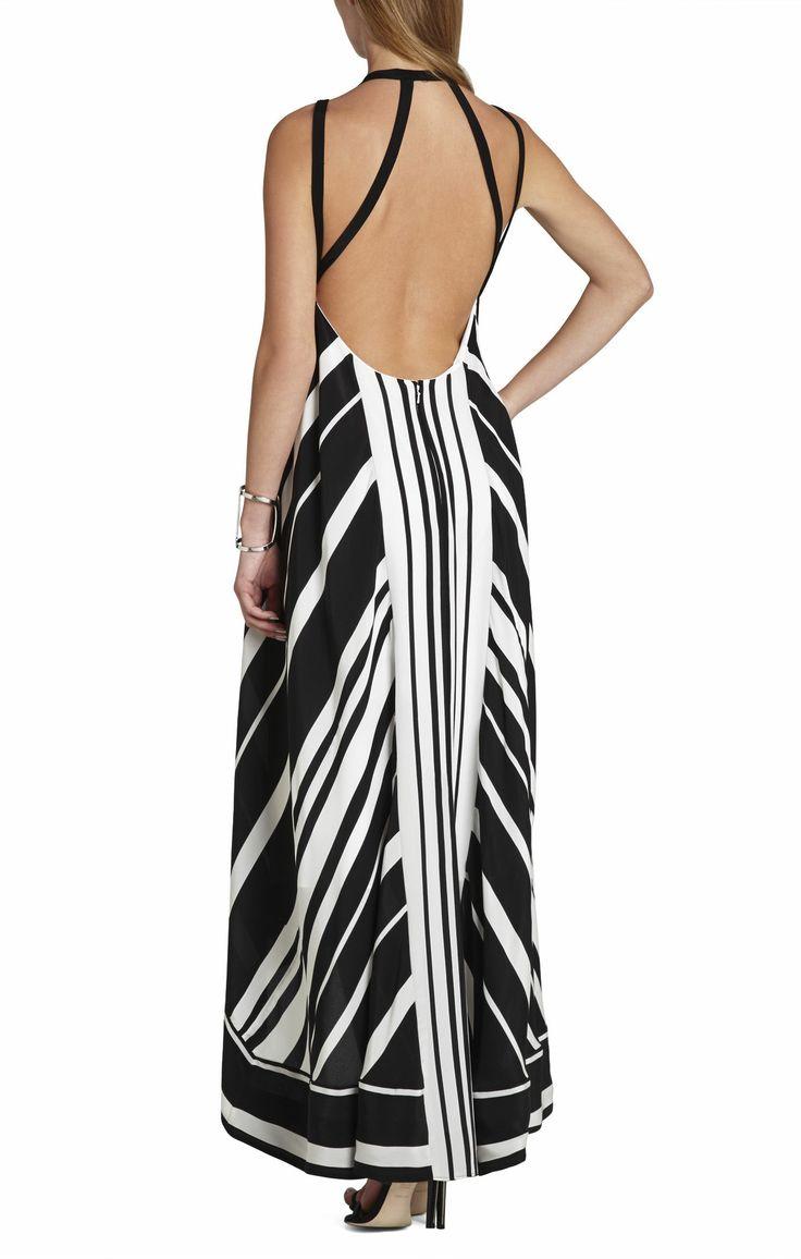 Gia Vertical-Striped Maxi Dress | BCBG