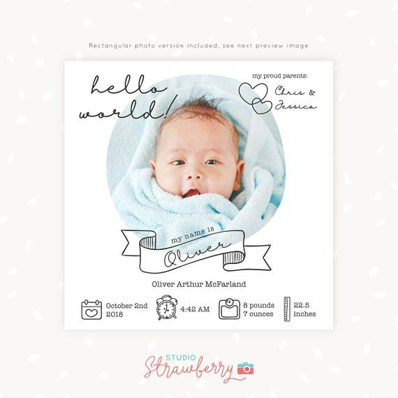 Birth Announcement Template Newborn Announcement Template Etsy Birth Announcement Template Birth Announcement Newborn Announcement