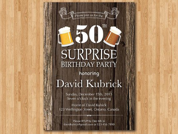 50th birthday invitation. Beer birthday party invite. Surprise Birthday Party. Rustic Wood Background. 40th 50th 60th. Printable Digital DIY on Etsy, $10.00
