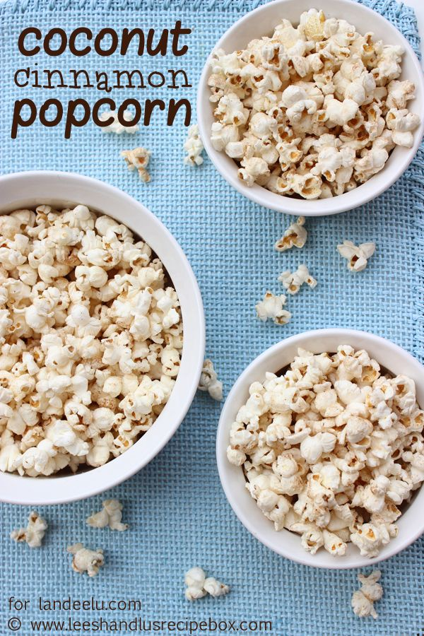 Coconut Cinnamon Popcorn Recipe -  The perfect mix of tropical and fall flavors in popcorn form!  - landeelu.com