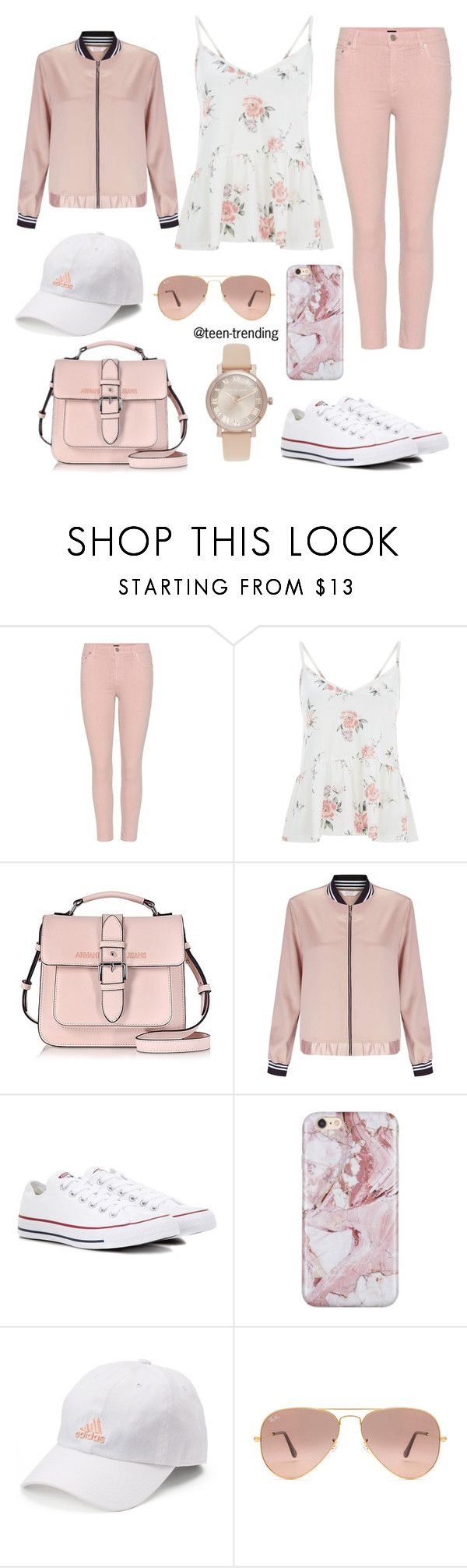 """cute outfit topped off with a silky pink bomber jacket"" by teen-trending ❤ liked on Polyvore featuring Citizens of Humanity, Armani Jeans, Miss Selfridge, Converse, adidas, Ray-Ban and Michael Kors"