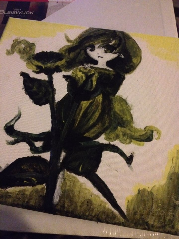 Practice #painting again :3 #rose #animegirl #anime #manga #art #paint #sepia
