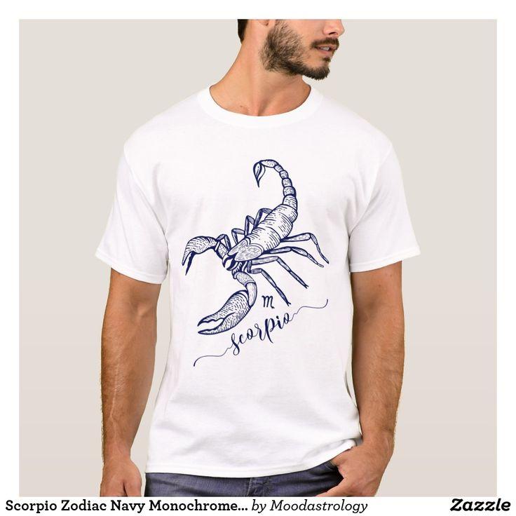 Scorpio Zodiac Navy Monochrome Graphic T-Shirt