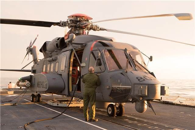 A Canadian CH-148 Cyclone sits onboard HMCS Halifax during sea trials in the Atlantic off the coast of Nova Scotia on April 18, 2015.   Photo: Jacek Szymanski, Navy Public Affairs IS16-2015-0001-003
