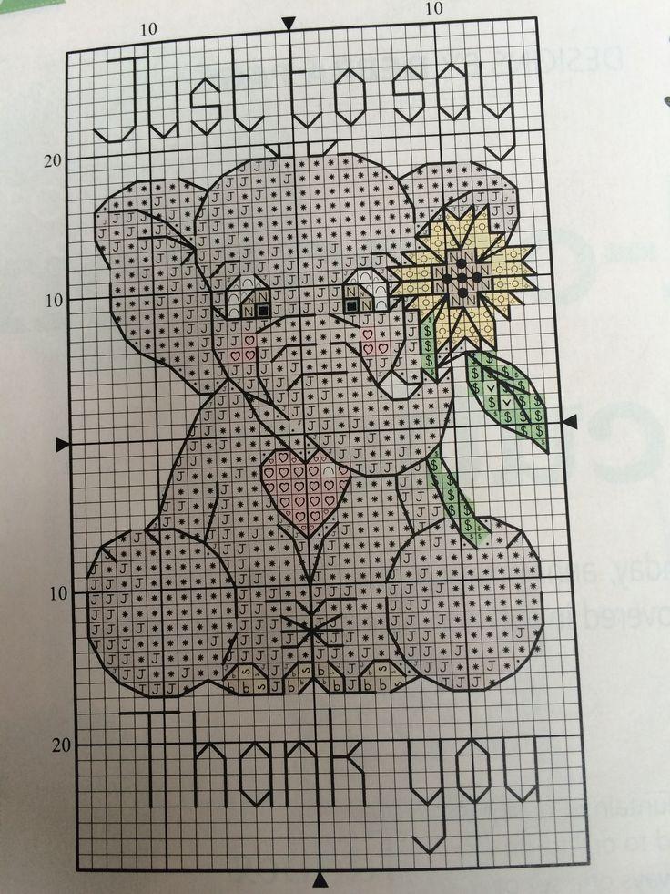 Elephant thank you cross stitch