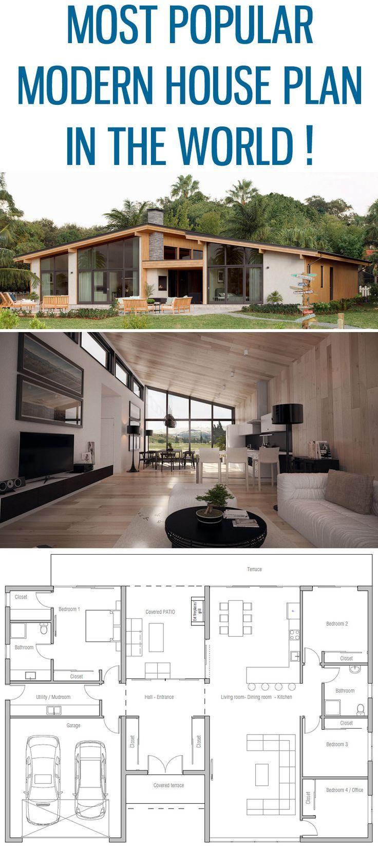 Plans Maison En Photos 2018 Image Description Most Popular Modern House Plan Home Plan Floor Plan Hou House Plans Modern House Plan Modern House Plans