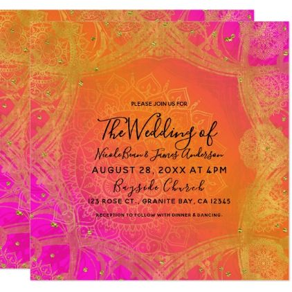 Fuchsia Pink Orange Gold Indian Mandala Wedding Card - wedding invitations diy cyo special idea personalize card