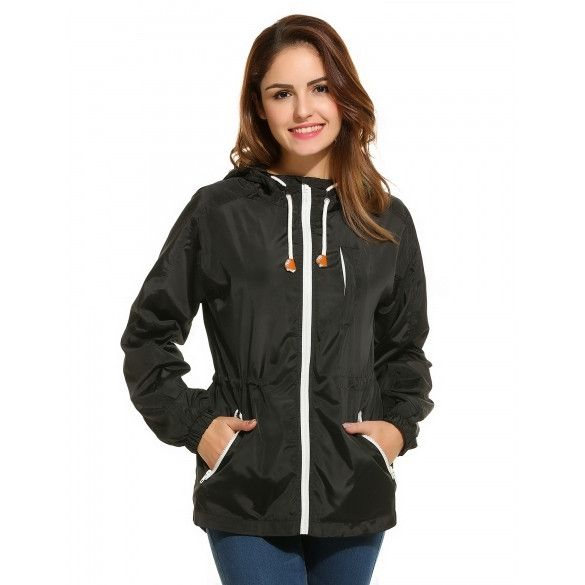 Women's Active Zip-Up Drawstring Waist Hooded Lightweight Jacket