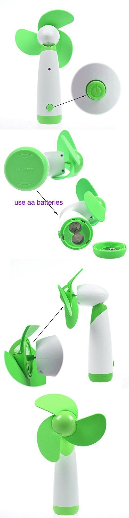 Ellami®2Pcs green Personal Hand-held/Portable Battery Operated Mini Air Fan for Home and Travel