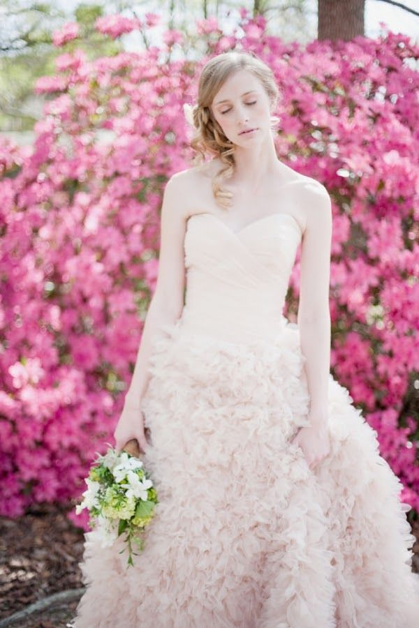 Blush Pink Ruffly Palm Springs Wedding Dress By Watters