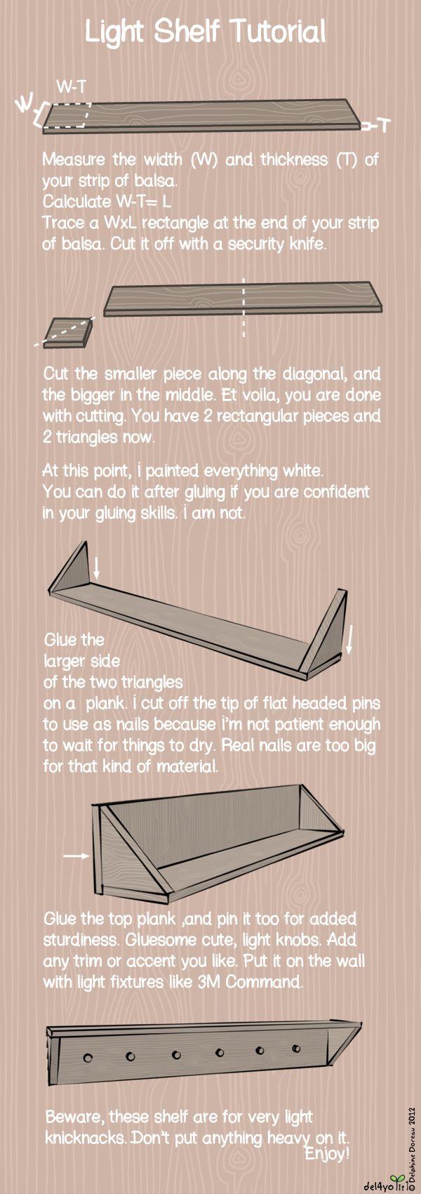 REPISA ----Una  larga tira de madera balsa (encontrarlo en tiendas de arte), pegamento blanco, pintura, y las tiras de comando.