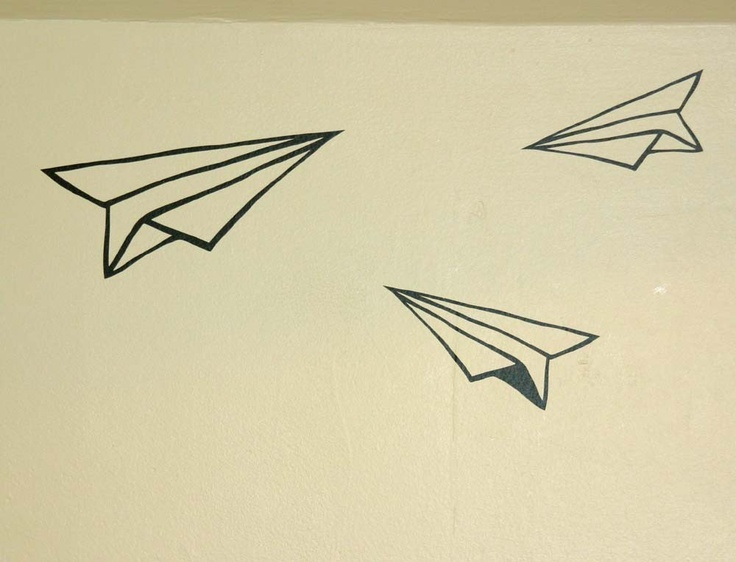 Three Super Fun Black Paper Air plane wall decals. $8.00, via Etsy. check it out @Sasha Benear
