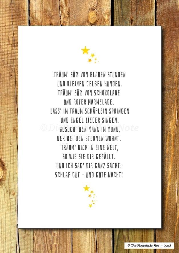 """""""Träum' süß!"""" Vielleicht von blauen Stunden und kleinen gelben Hunden? - Druck/Wandbild: Träum' süß - Kinderzimmerpoesie"""