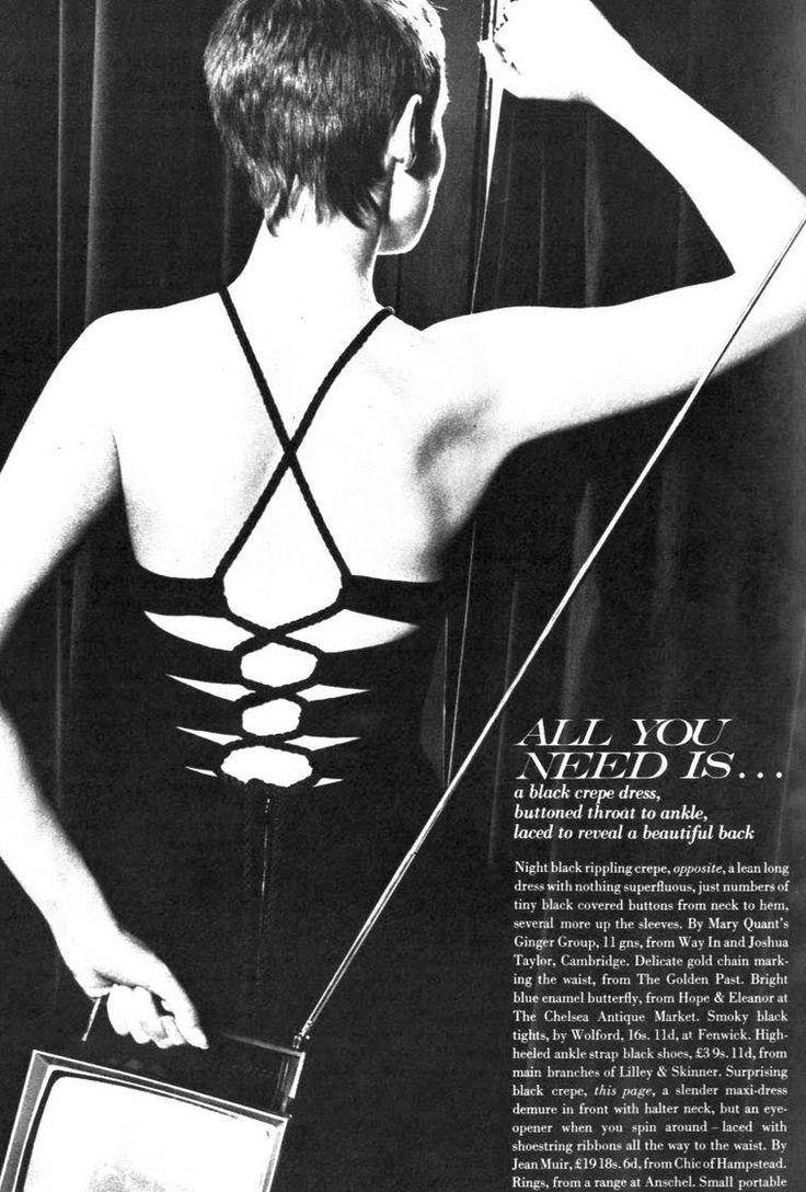 Grace Coddington wearing Jean Muir. Photo by David Bailey. Vogue UK Oct, 1968