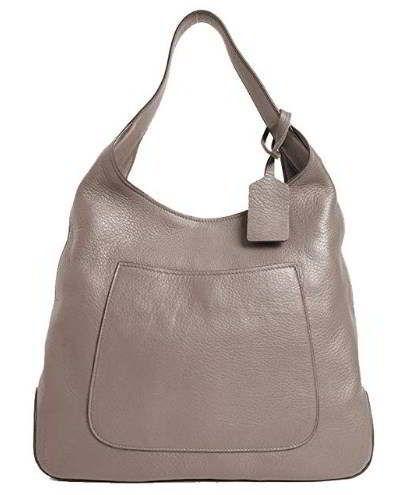 2e6743ba50d6 Prada Women s Argilla Grey Leather and Silver Tone Large Hobo Handbag