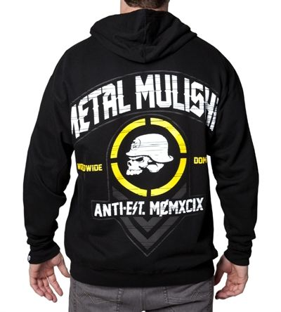 Metal Mulisha Affiliate Zipped Hoody in Black (M)     This mens Metal Mulisha hoody features classic military style skull logo detail printed on the front and rear of this full zip Metal Mulisha Affiliate hoody.  The Affiliate Metal Mulisha fleece lined hoodie has been made from a mixture of polyester and cotton and has a full zip and ribbed cuffs. It has a regular fit and has front pouch pockets.  Metal Mulisha is a Freetstyle Motocross and MMA brand that is becoming increasingly popular…