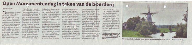 Artikel in het AD/Dagblad Rivierenland. Tijdens de Open Monumentendag 2003 was De blauwe Deel te bezoeken. Kijk ook op www.deblauwedeel.nl.