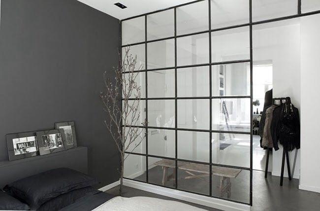 Dark grey internal Crittall wall