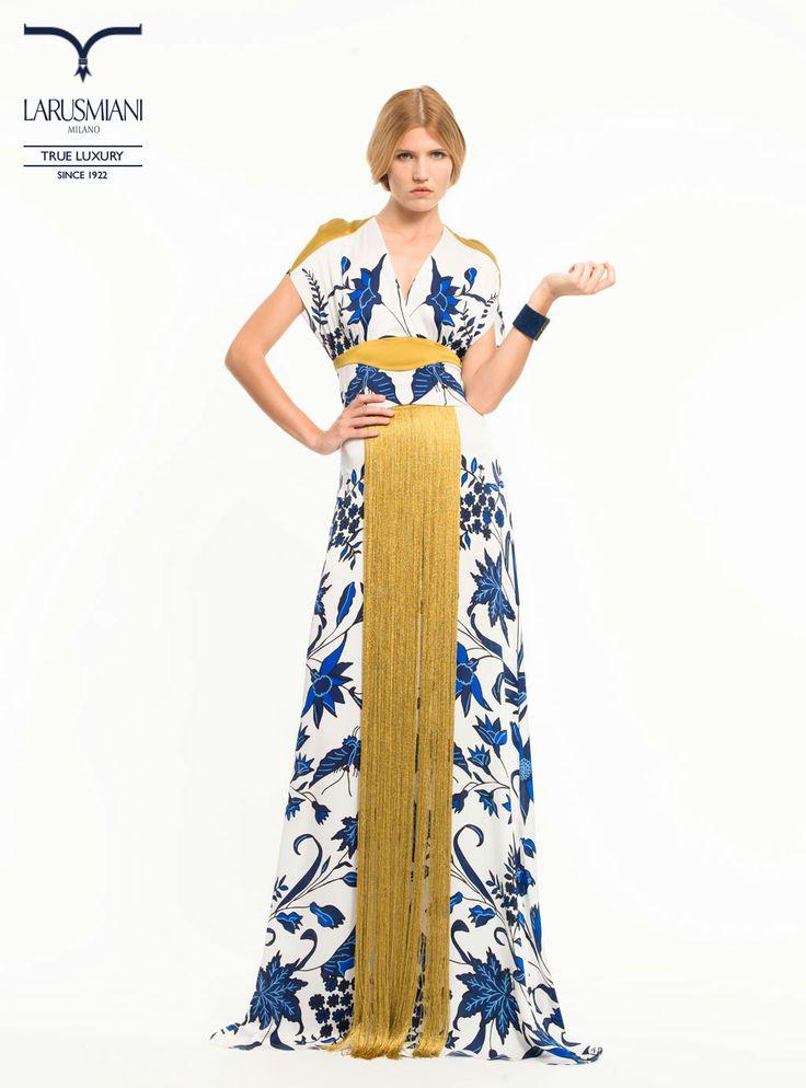 Silk patterned top - Handmade silk patterned #skirt with fringes - Suede bracelet with #jewel buckle -www.larusmiani.it #SS2014 #women #fashion #style #larusmiani