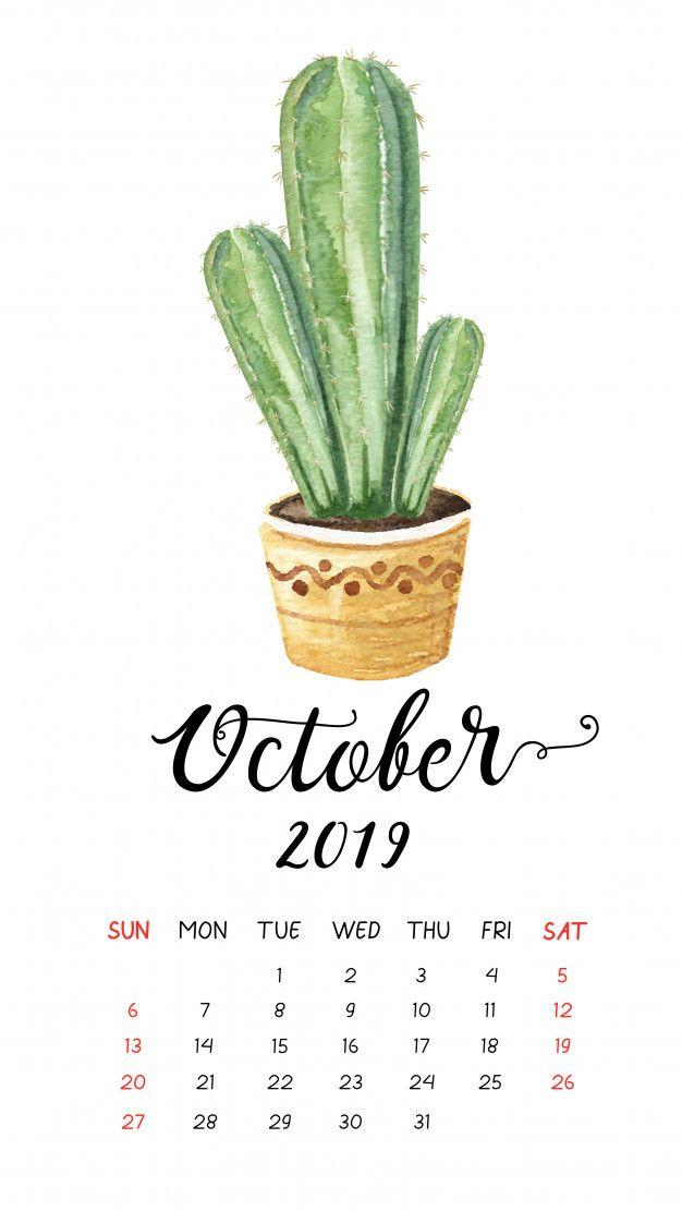 Watercolor Cactus Calendar For October 2019 Watercolor Cactus
