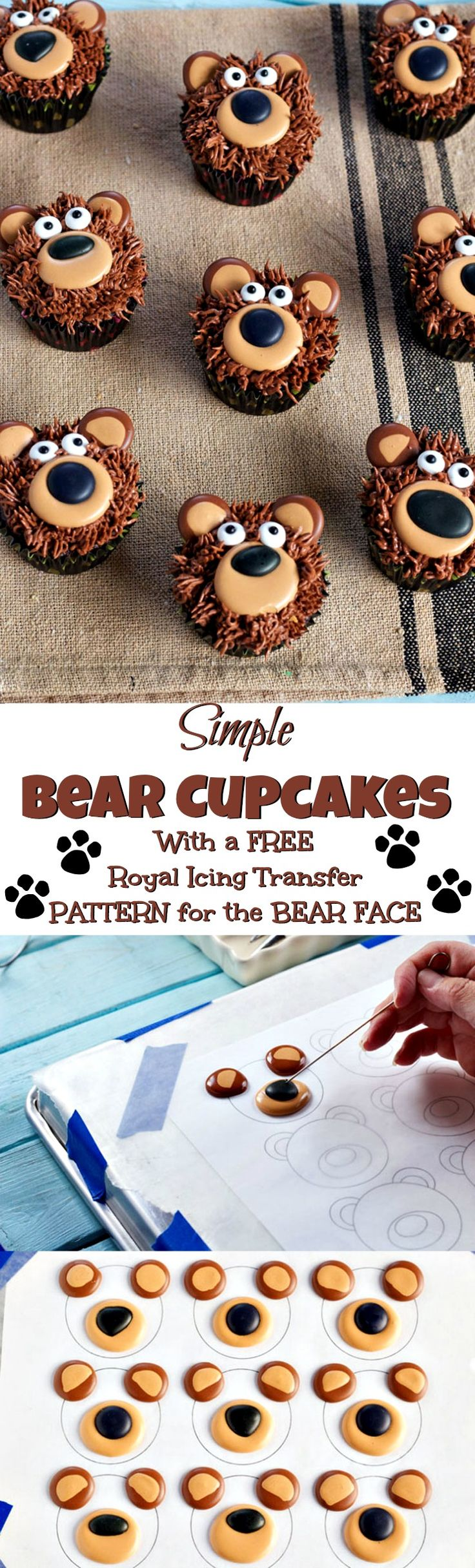 Bear Cupcakes - with Royal Icing Transfers