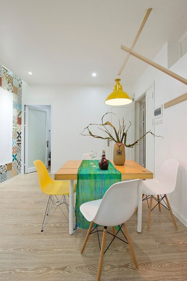 Modern apartment interior design in warm and glamour style digsdigs - Modern Apartment Design With Colorful Wall Tiles And Accents Digsdigs