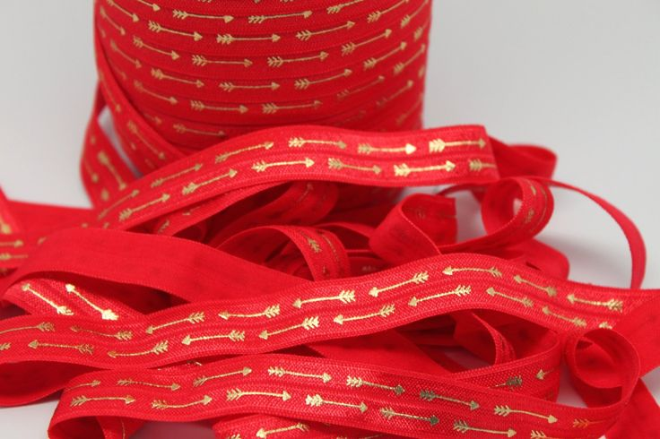 """Red with Gold Foil Arrow FOE 5/8"""" -Print FOE, Headbands, Hair Ties and More!"""