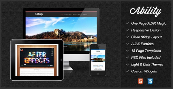 Ability is a responsive, one page HTML Template powered by AJAX magic.