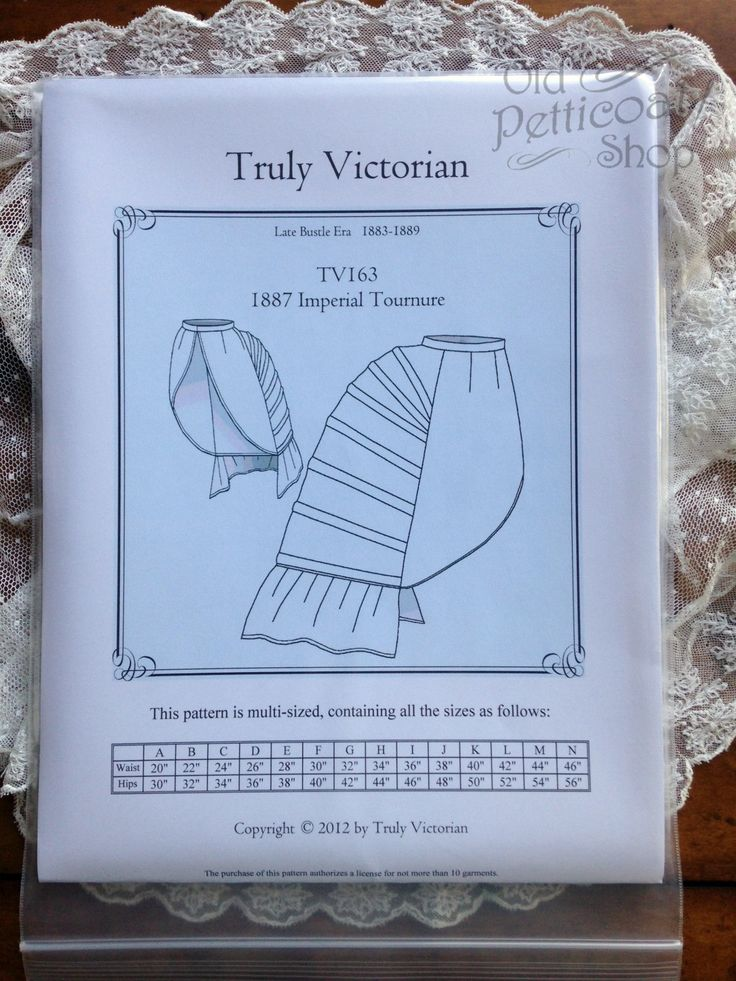 Truly Victorian TV163 1887 Imperial Tournure Bustle Pattern – Old Petticoat Shop; $14