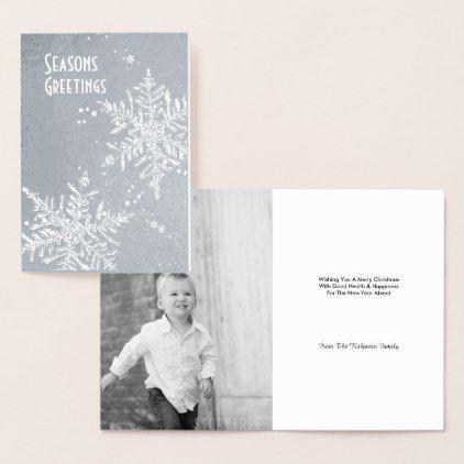 Silver Snowflake  Merry Christmas Editable Photo Foil Card - Xmas ChristmasEve Christmas Eve Christmas merry xmas family kids gifts holidays Santa