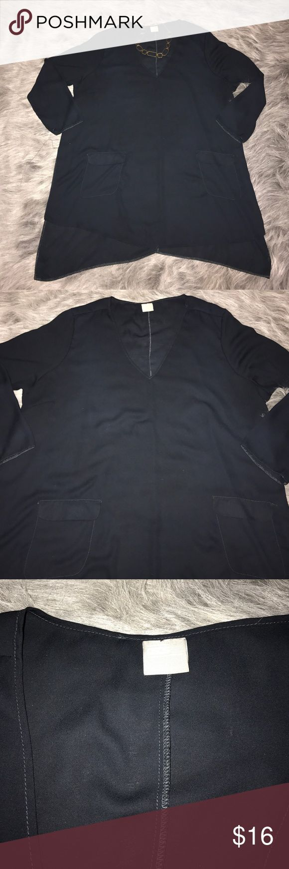 Asos plus size Black Tunic size 22 Asos Plus size Black Tunic, sheer material , two front pockets v-neck long sleeves, like new. Size 22. ASOS Dresses