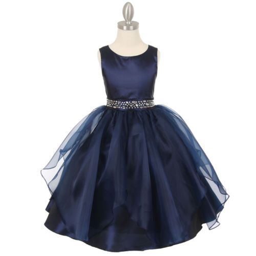 NAVY-BLUE-Flower-Girl-Dresses-Birthday-Wedding-Formal-Pageant-Party-Bridesmaid