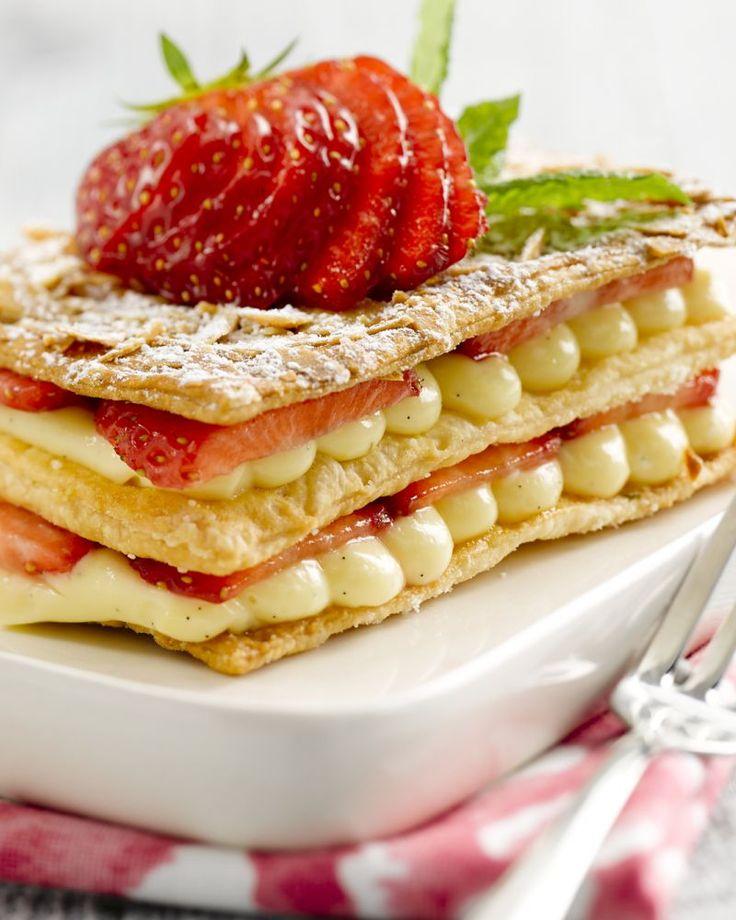 Millefeuille met aardbeien