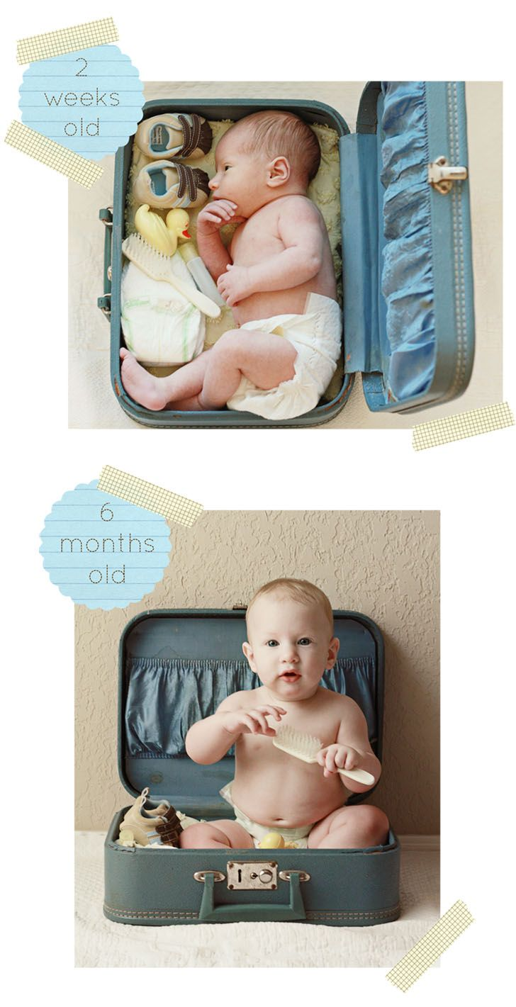 Picture Idea: Use the same suitcase for pictures throughout life. Infant, 6