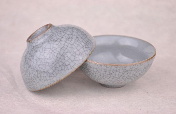 Ge Yao Celadon Grey Cups for Gong Fu Tea brewing * Set of 2