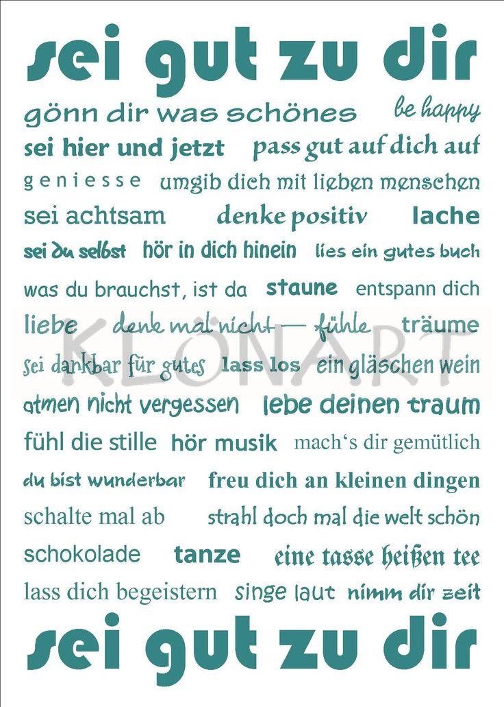 KLÖNART - Kartenkunst und mehr Postkarte  Buchstaben + Worte SEI GUT ZU DIR www.kloenart.de kontakt@kloenart.de www.facebook.com/kloenar