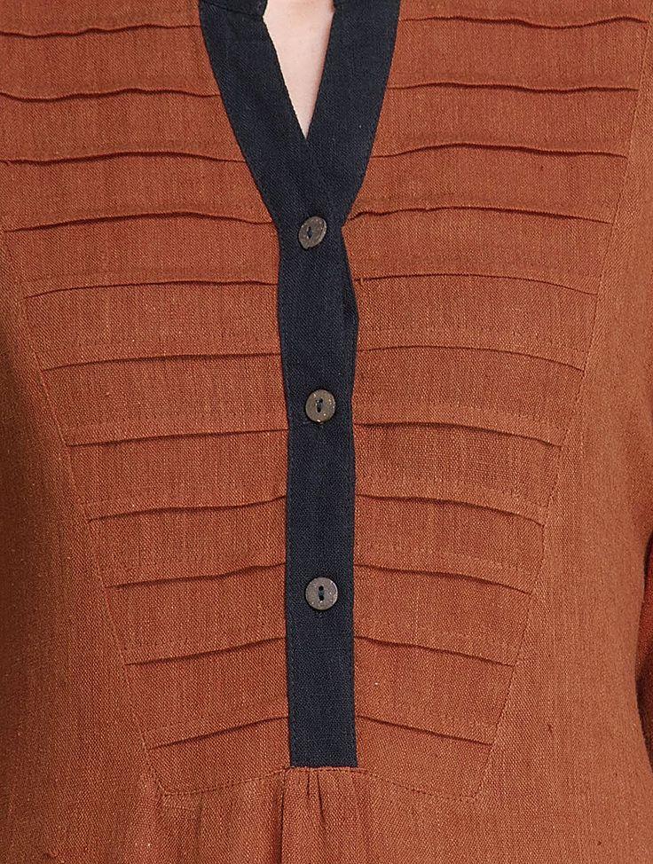 Buy Rust Black Natural Dye Handwoven Pleated Yoke Koraput Cotton Kurta by Jaypore Apparel Tunics & Kurtas Songs of Nature Dyed Online at Jaypore.com