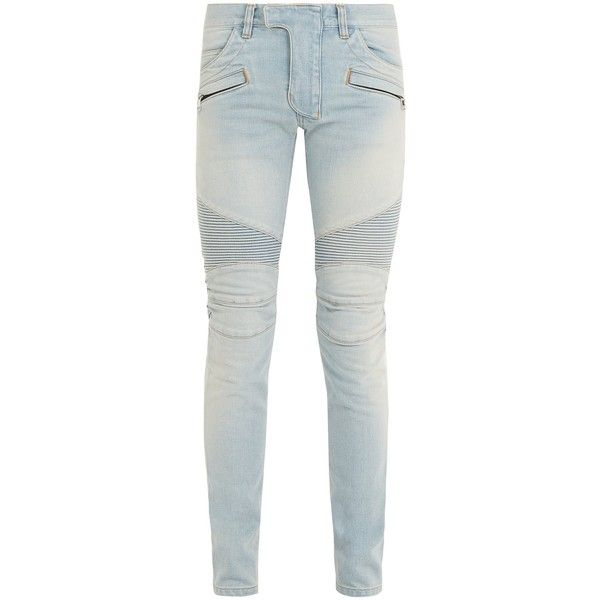 Balmain Mid-rise skinny biker jeans ($1,395) ❤ liked on Polyvore featuring jeans, blue, mens skinny jeans, mens flap pocket jeans, mens mid rise jeans, mens brown jeans and balmain men's jeans