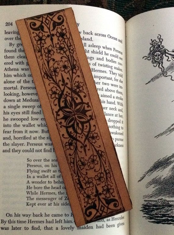 Decorative Leather Bookmark with Historical Illustration Engraving