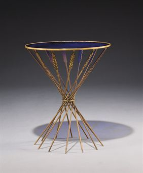 A GILT METAL AND STAINED GLASS GUERIDON BY MARC DU PLANTIER, CIRCA 1939